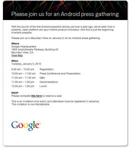 Invitación Google evento Android