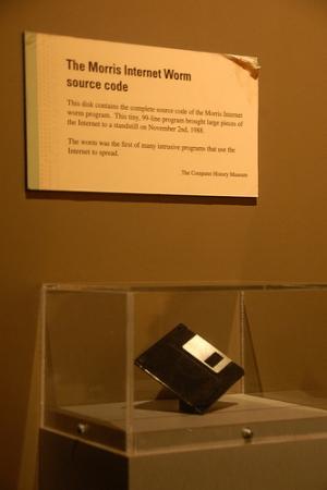 Diskette con el gusano Morris Worm en el Museo de la Ciencia de Masachussets