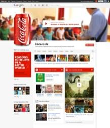 Concepto de página de Coca-Cola en Google+
