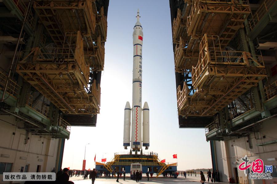 Cohete chino preparado para el despegue.