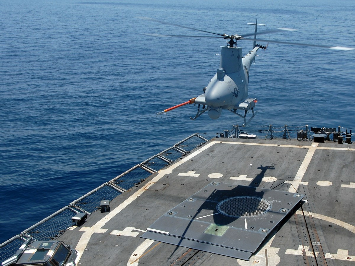 90508-N-2821G-146 ATLANTIC OCEAN (May 8, 2009) - The Northrop Grumman Corporation-developed Unmanned Aerial Vehicle MQ-8B Fire Scout hovers over the flight deck of the guided-missile frigate USS McInerney (FFG 8), while the ship sails in the Atlantic Ocean. McInerney is preparing for an upcoming counter-illicit trafficking deployment to Latin America, where the ship is scheduled to use Fire Scout to assist with counter-drug operations. (U.S. Navy photo by Mass Communication Specialist 2nd Class Alan Gragg/Released)