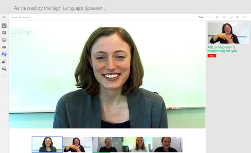 VIsta de lenguaje de signos en Hangouts