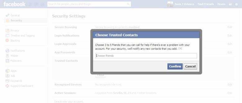 Trusted Contacts (3) - contactos de confianza de Facebook