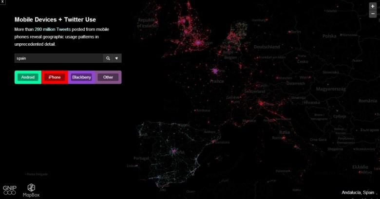 Europa mapa de tweets -  Las plataformas móviles más usadas según los tweets de los usuarios