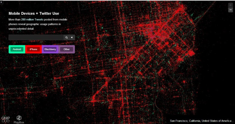 San Francisco Mapa Twitter - Las plataformas móviles más usadas según los tweets de los usuarios