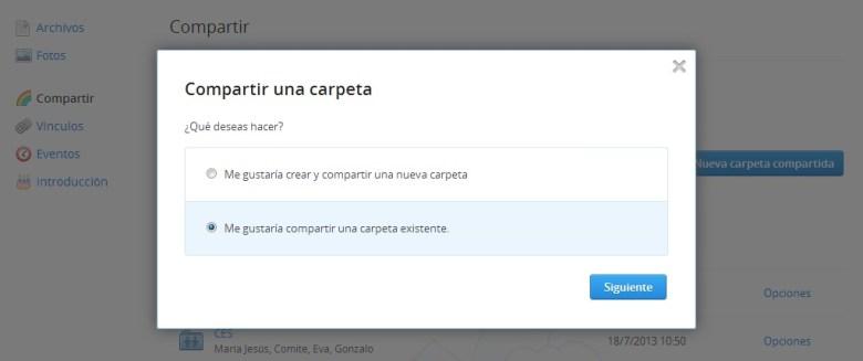 Compartir una carpeta en Dropbox