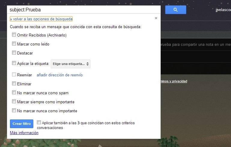 Filtros de correo electrónico en Gmail
