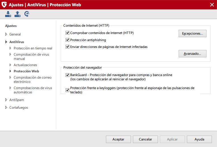 g data protección web