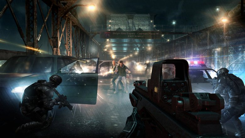 Fotograma del videojuego Rainbow Six, basado en la novela homónima.