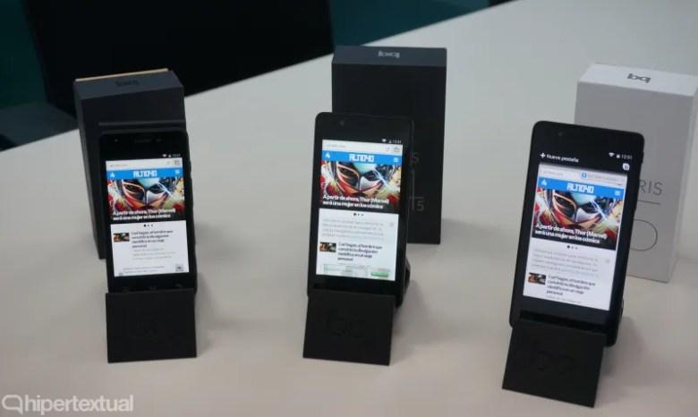 Algunos de los smartphones que bq ha presentado en 2014