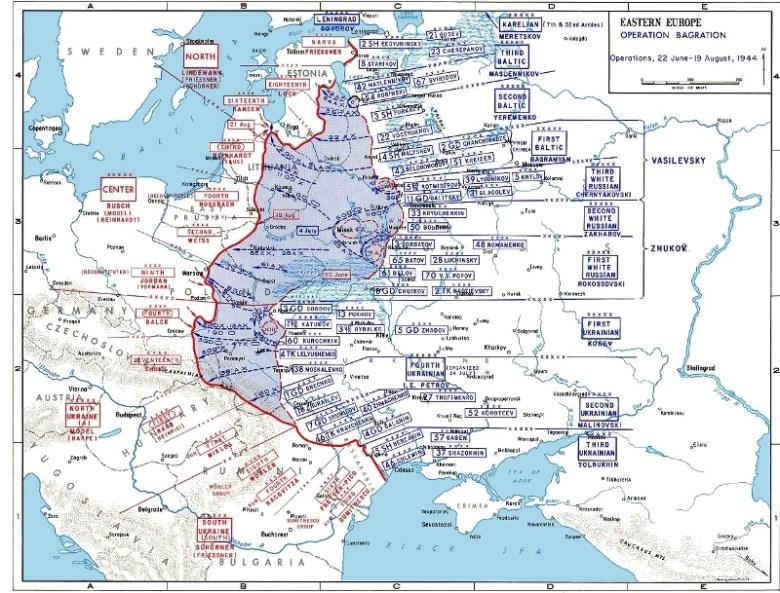Movimiento de tropas durante la Operación Bagration. En azul el terreno recuperado. <a href=