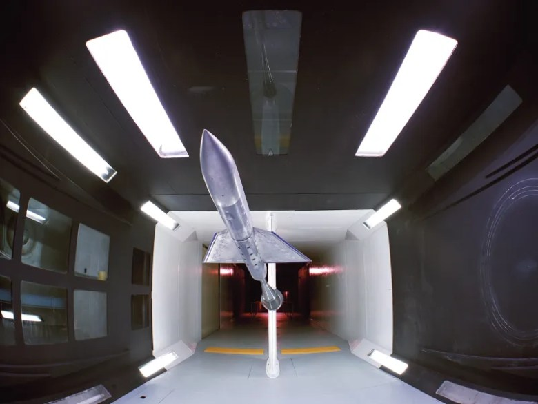 Wind Tunnel Test Chamber with Model,