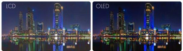 Simulación entre panel LCD y OLED.