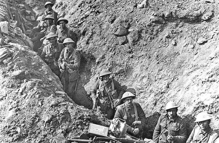 Tropas británicas durante la batalla del Somme, en la Primera Guerra Mundial. <a href=