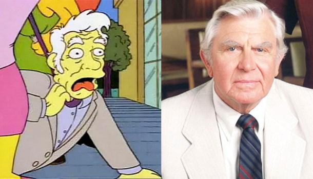 El Matlock que llegó a aparecer en Los Simpson y Andy Griffith, el actor que interpretó al Matlock de la vida real.