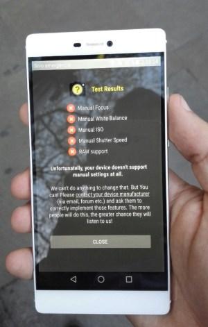Aquí vemos como el Huawei P8 no soporta las bondades de Camera 2 API.