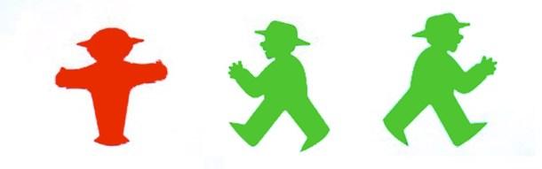 Propuesta inicial de Peglau. Los dos muñecos verdes tenían dedos en sus manos que posteriormente fueron eliminados.