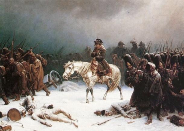 """Retirada de Napoleón de Moscú tras la derrota contra el """"General Invierno"""". <a href="""