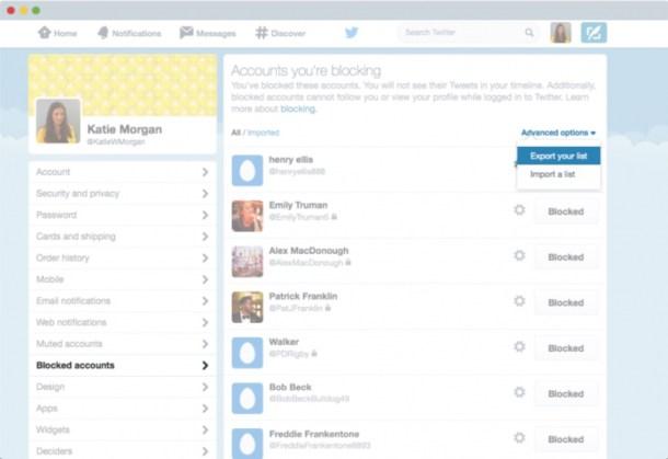 Listas de bloqueo Twitter
