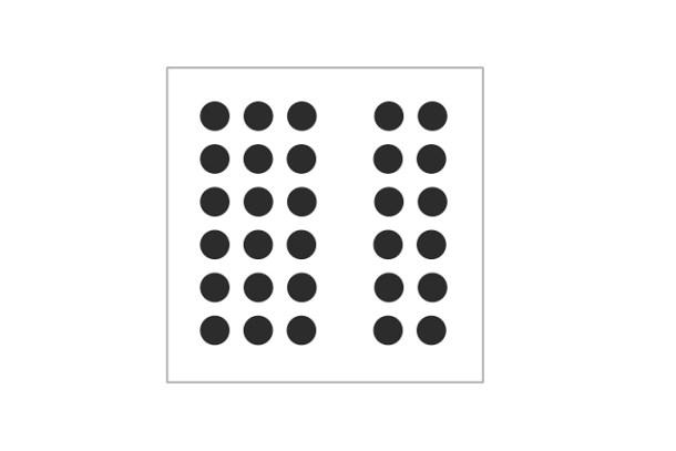 """""""Ley de proximidad"""". A simple vista apreciamos dos grupos, y no cada círculo por separado."""