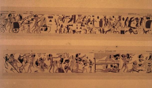 Copia del papiro original en el que se aprecian algunas de las escenas sexuales. Fuente: Oocities
