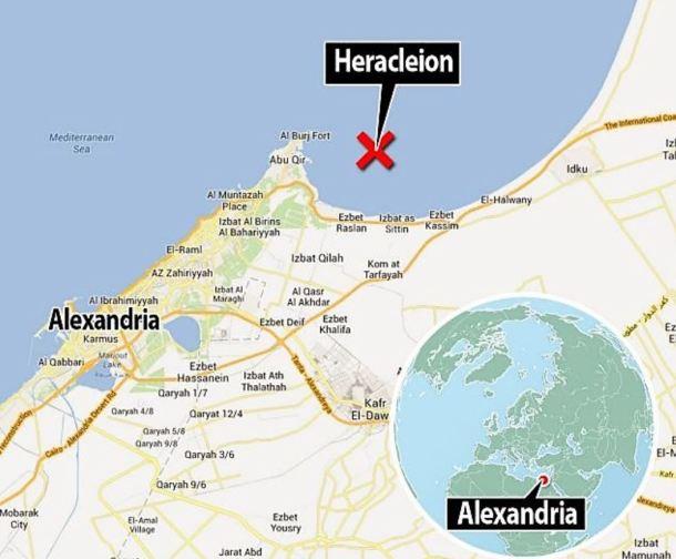Ubicación de Heracleion bajo el mar. Observen lo cerca que se encuentra de Alejandría. <a href=