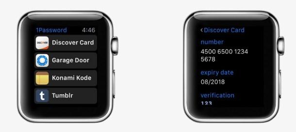 apple watch 1pasword