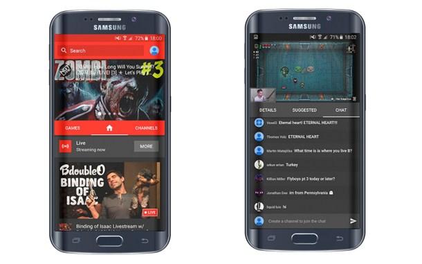 Interfaz de YouTube Gaming en Android.