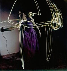 Francoise Gilot, mistress of artist Pablo Picasso, drawing with light, Vallauris, France, 1949. (Photo by Gjon Mili/ Time & Life Pictures/Getty Images)