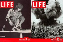 Izquierda: 9 de agosto de 1943. Foto: Margaret Bourke-White. Derecha: 9 de abril de 1945. Foto: W. Eugene Smith