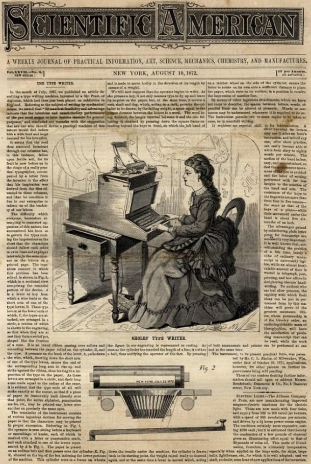 """El invento de Christopher Latham Sholes fue descrito como """"piano literario"""" por Scientific American."""
