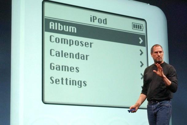La presentación del primer iPod.