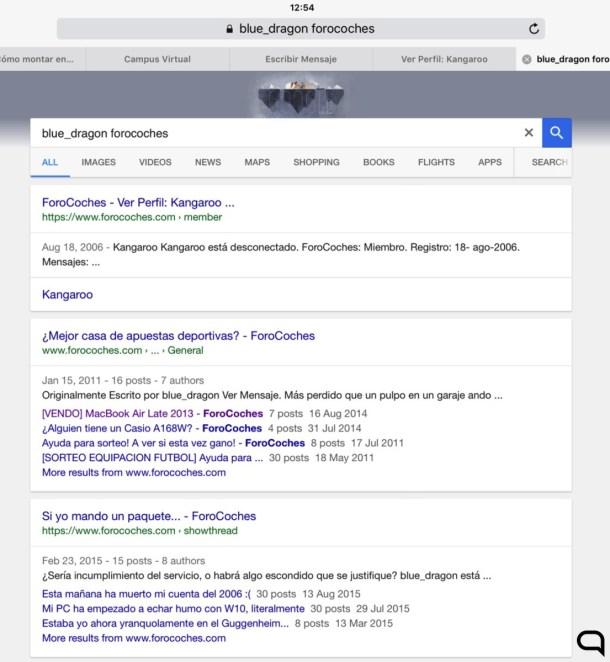 Captura realizada donde Google vincula, claramente, las cuentas blue_dragon y Kangaroo.