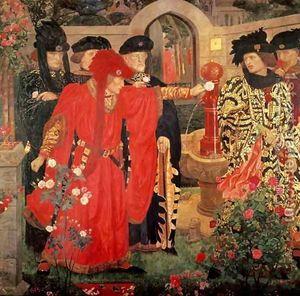 versión de William Shakespeare de la división de los nobles en las facciones de York y Lancaster, desatando la Guerra de las Rosas en el siglo XV de Inglaterra.