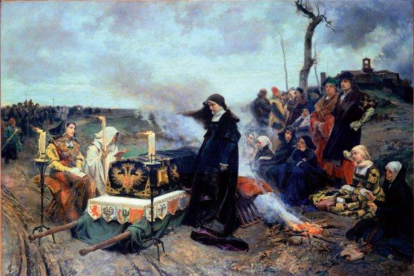 Juana ante el féretro que transporta los restos de su esposo. Óleo por Francisco Pradilla. 1877. Museo del Prado, Madrid.