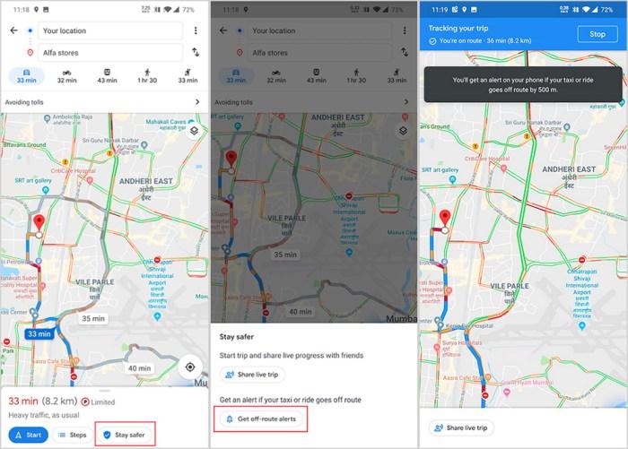 Función de avisos por desvío en Google Maps