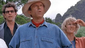 Sam Neill, Laura Dern y Jeff Goldblum en Jurassic Park