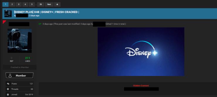 Captura de pantalla de Plataforma de venta de cuentas de Disney+