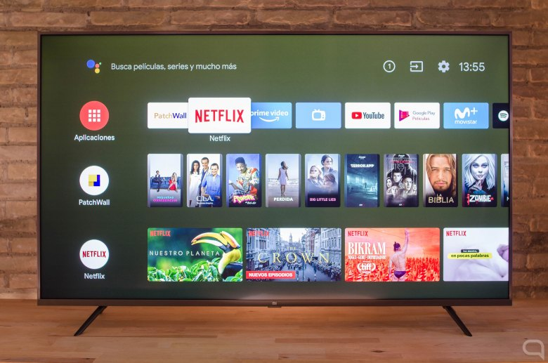 Android TV menu on the Xiaomi Mi TV 4S, 55 inches