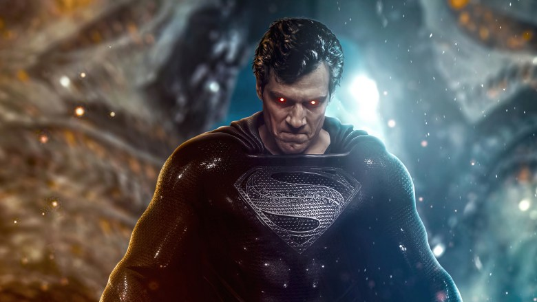 Superman in black suit in the Snyder Cut from Justice League