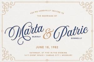 Aurora Script by Andrey Sharonov Wedding invite