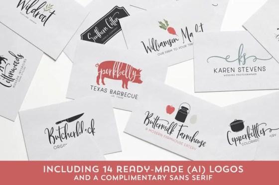 Buttermilk Farmhouse Typeface Logos