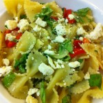 Farfalle with Roasted Peppers, Onions, Feta, and Mint