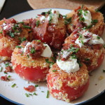 Fried Red Tomatoes with Sour Cream and Prosciutto. Delicious and filling, this is like a healthier version of a loaded baked potato!