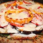 Whole Wheat Pizza with Pesto, Bell Peppers & Portobello Mushrooms