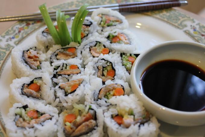 Salmon skin roll on plate