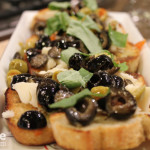Green Olive, Goat Cheese and Basil Crostini for Valentine's Day #SundaySupper