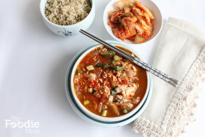 Korean Soft tofu soup soondubu jjigae aerial_HipfoodieMom.com
