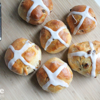 Good Friday Hot Cross Buns! Spiced sweet bun made with currants or raisins, marked with a cross on top; traditionally eaten on Good Friday.