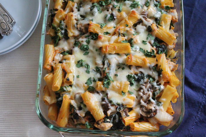 Broccoli Rabe mushroom and kale casserole | HipFoodieMom.com